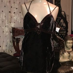 Aqua Brown Velvet Strappy Sequin Camisole